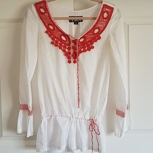 Jack by BB Dakota Sheer White Top Red/ Or Crochet